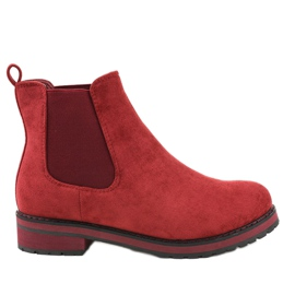 Burgundy insulated boots Jodhpur boots F-3799 red
