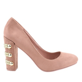 Pink suede pumps with high heels DD59P