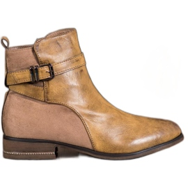 Super Mode Ankle Boots With Cubic Zirconia brown