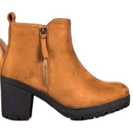 SHELOVET Comfortable Booties On The Platform brown