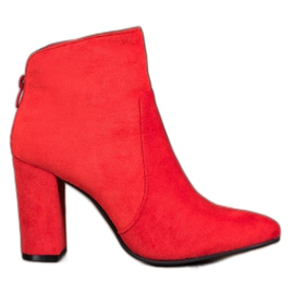 Ideal Shoes Classic Ankle Boots red
