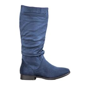 SHELOVET Suede Boots Above Knee blue