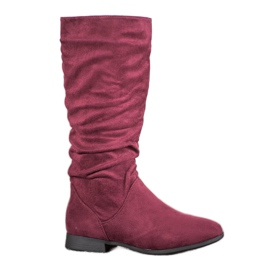 SHELOVET Suede Boots Above Knee red