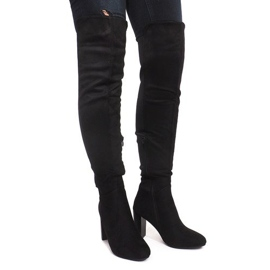 Suede Boots On A Pole 6812-GG Black