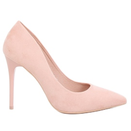 LE07P Pink suede pumps on a pink heel