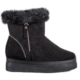 SHELOVET Black Snow Boots On The Platform