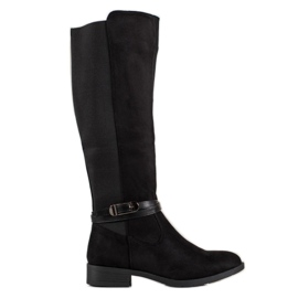 Ideal Shoes Suede Boots black