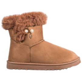 SHELOVET Snow Boots With Pearl brown