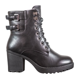 J. Star Tied Booties On The Platform black