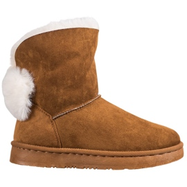 Bella Paris Snow Boots With Pompoms brown