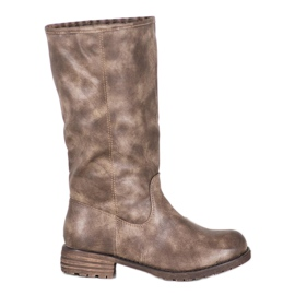 SDS Comfortable boots made of eco leather brown