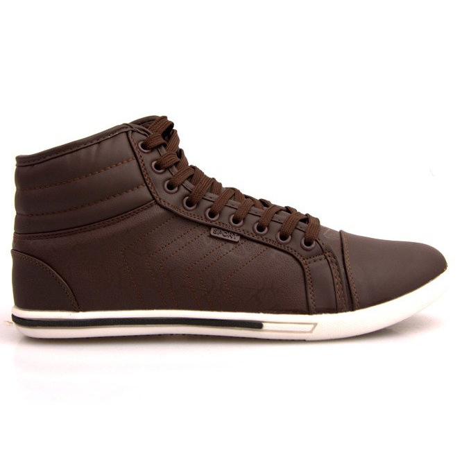 Fashionable High Sneakers 012M Brown