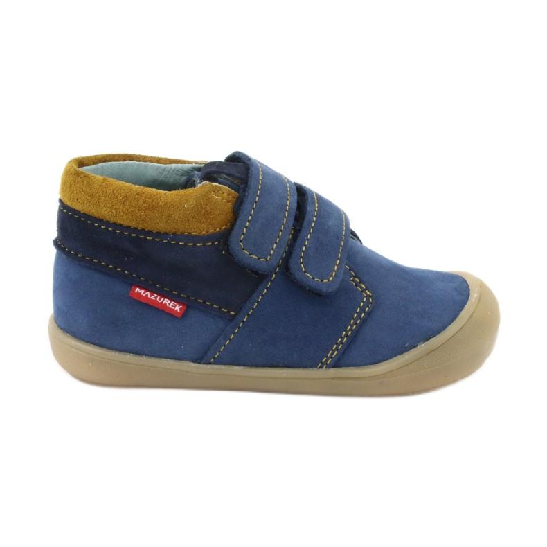 Boys' shoes with Velcro Mazurek 1355 navy blue yellow