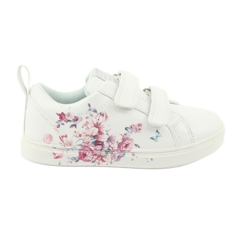American Club Velcro sneakers flowers ES11 white red blue