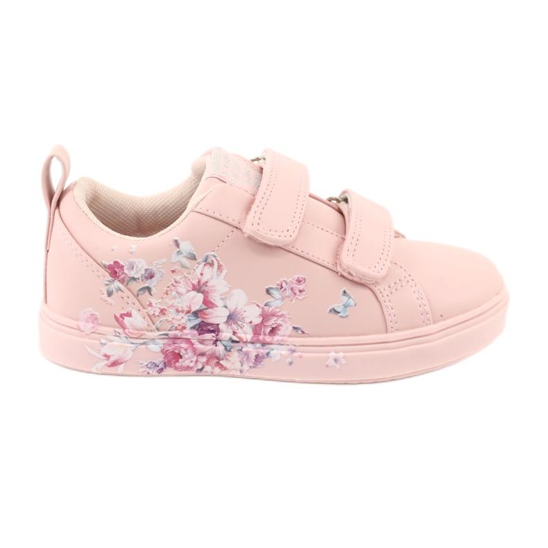 American Club Velcro sneakers flowers ES11 red violet blue pink
