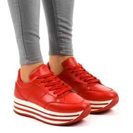 Red fashionable women's sports shoes 230-4