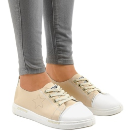 Beige classic sneakers QW8371-3 brown