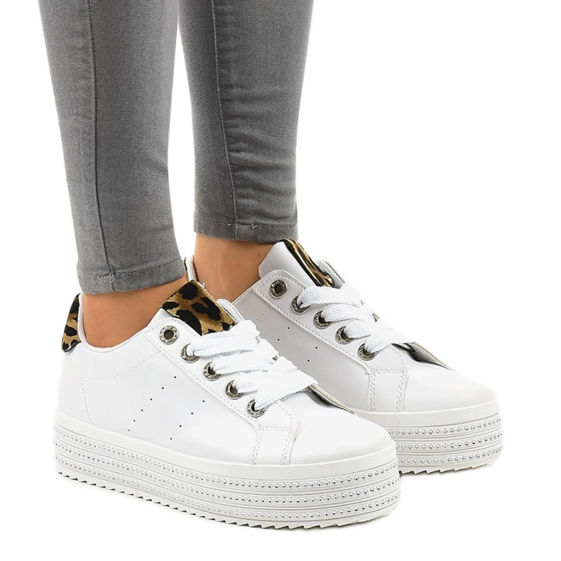 White leopard sneakers on the M-071 platform