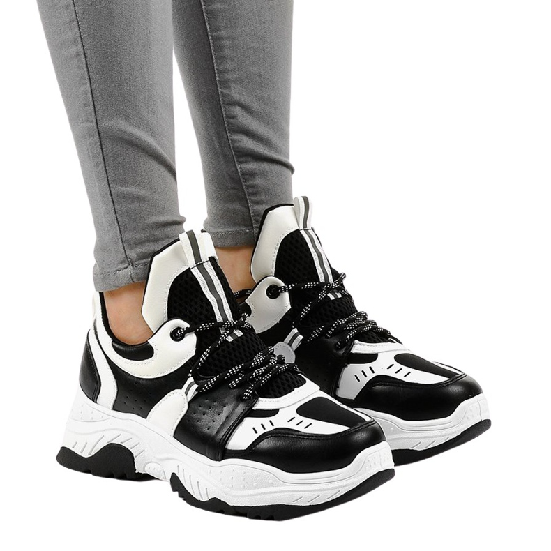 Black and white women's sneakers CB-136