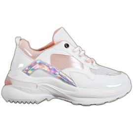 SHELOVET Stylish Sneakers With Eco Leather white multicolored
