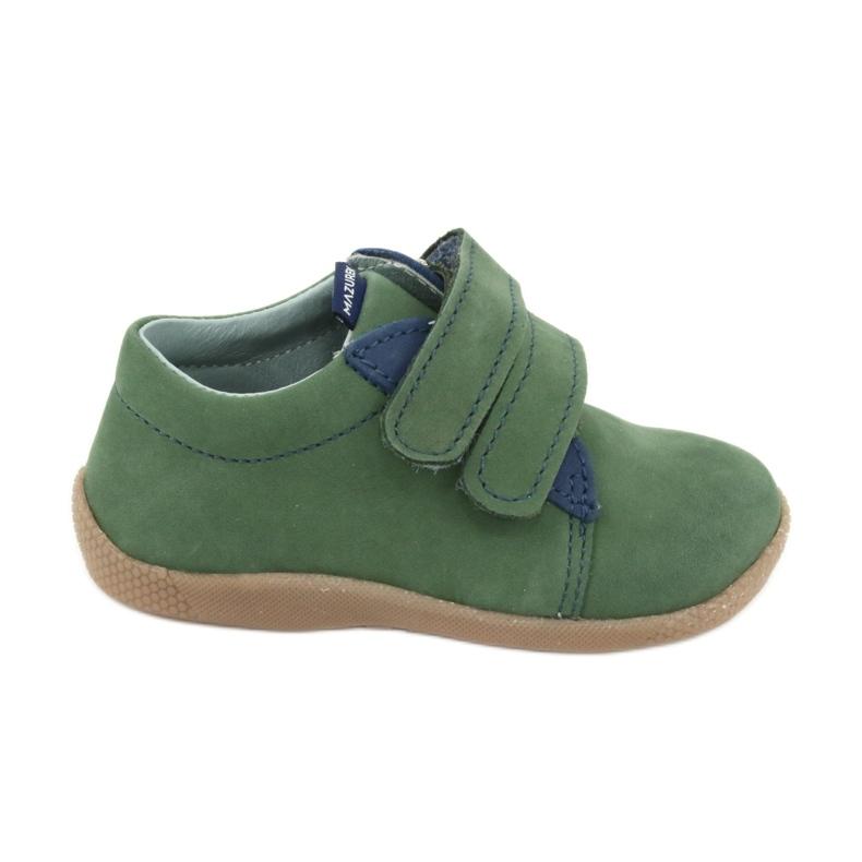 Velcro leather shoes Mazurek 305 green navy
