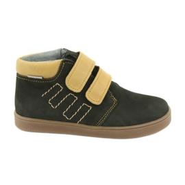 Leather shoes Velcro Mazurek 1341 black multicolored yellow