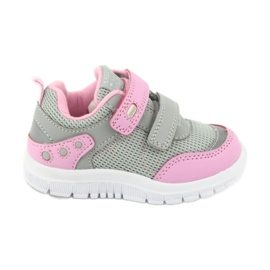 American Club ES23 two Velcro trainers pink grey