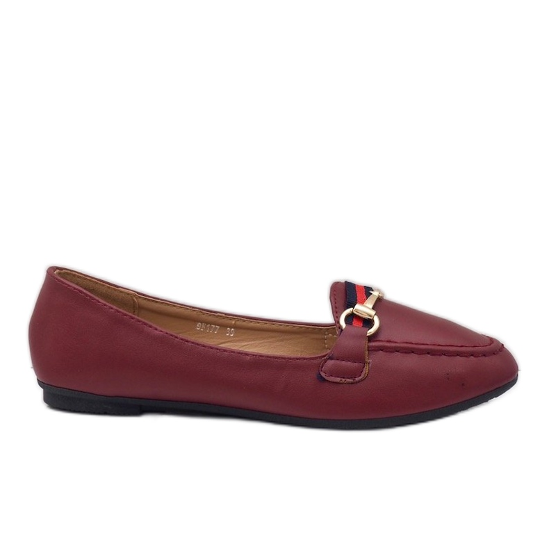 Burgundy loafers ballerinas with eco-leather 9F177 red