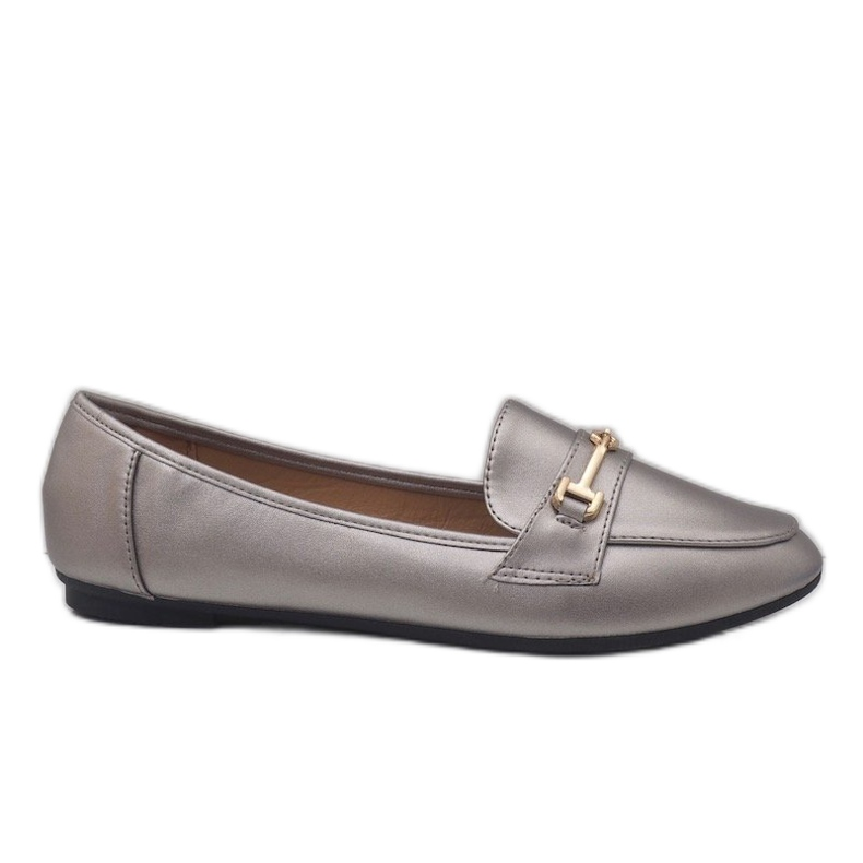 Silver ballet loafers made of eco-leather 9F176 grey