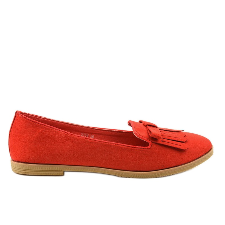 Red lords loafers from eco-suede 2358