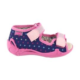 Befado yellow children's shoes 342P007 navy blue pink