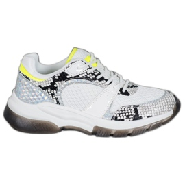 Kylie Comfortable Snake Print Sneakers white multicolored