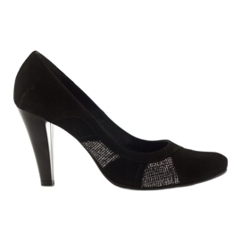 Edeo Pumps black leather with a silver thread