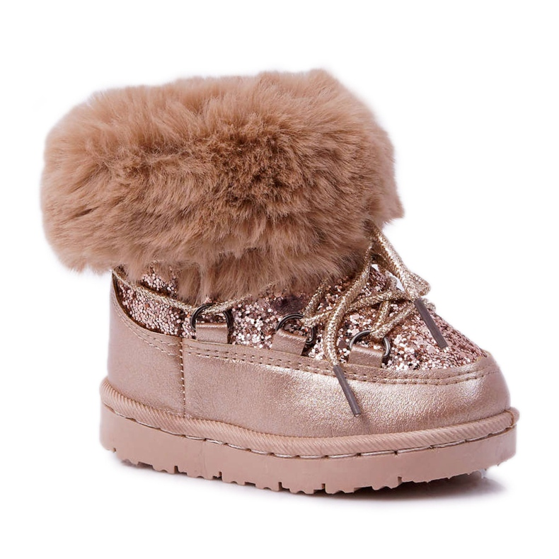 FRROCK Insulated Children's Snow Boots With Fur Champagne Crystal Fox