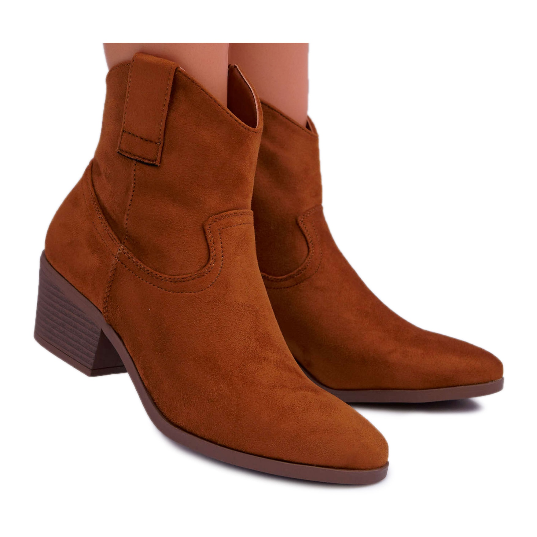 BUGO Boots Women Flat Heel Cowboy Boots