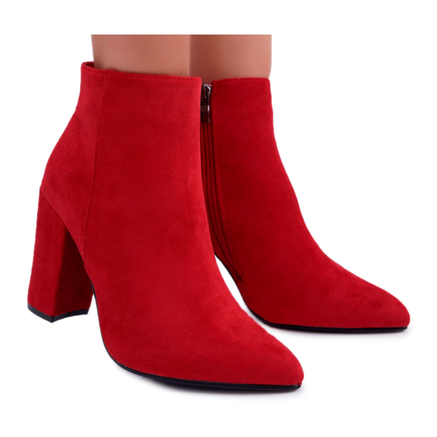 Ankle Boots Suede Red Sharks - ButyModne.pl