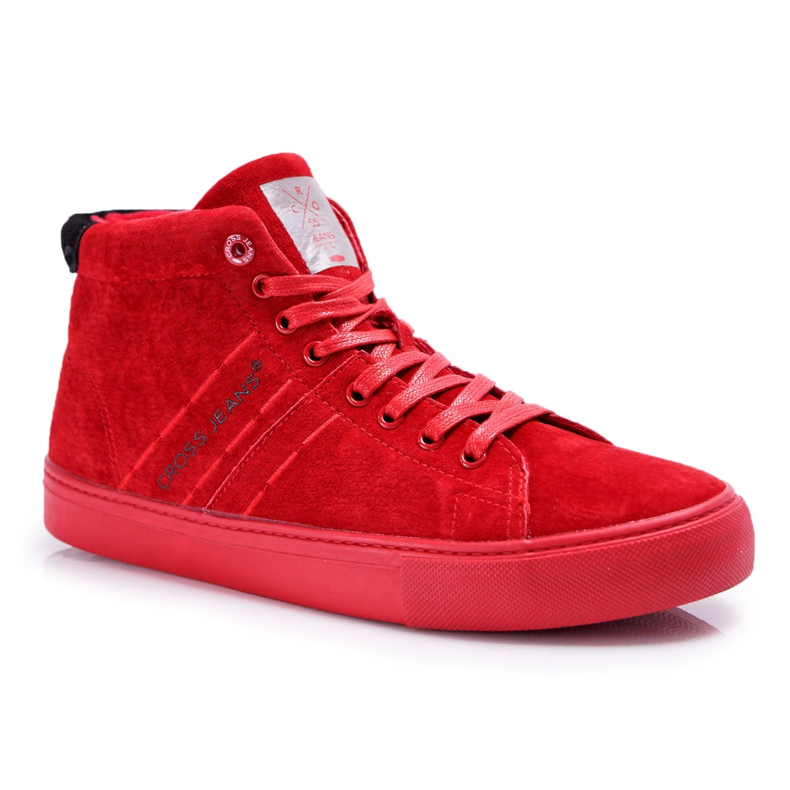 Cross Jeans High Leather Suede Mens Sneakers Red EE1R4055C