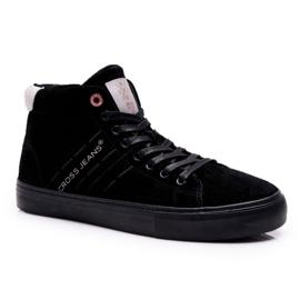 Men's Cross Jeans High Leather Suede Black Sneakers EE1R4057C