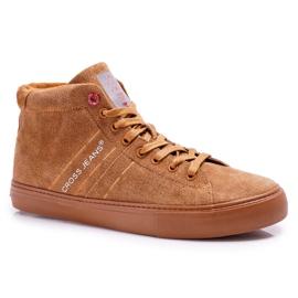 Men's Sneakers High Cross Jeans Leather Suede Camel EE1R4054C brown