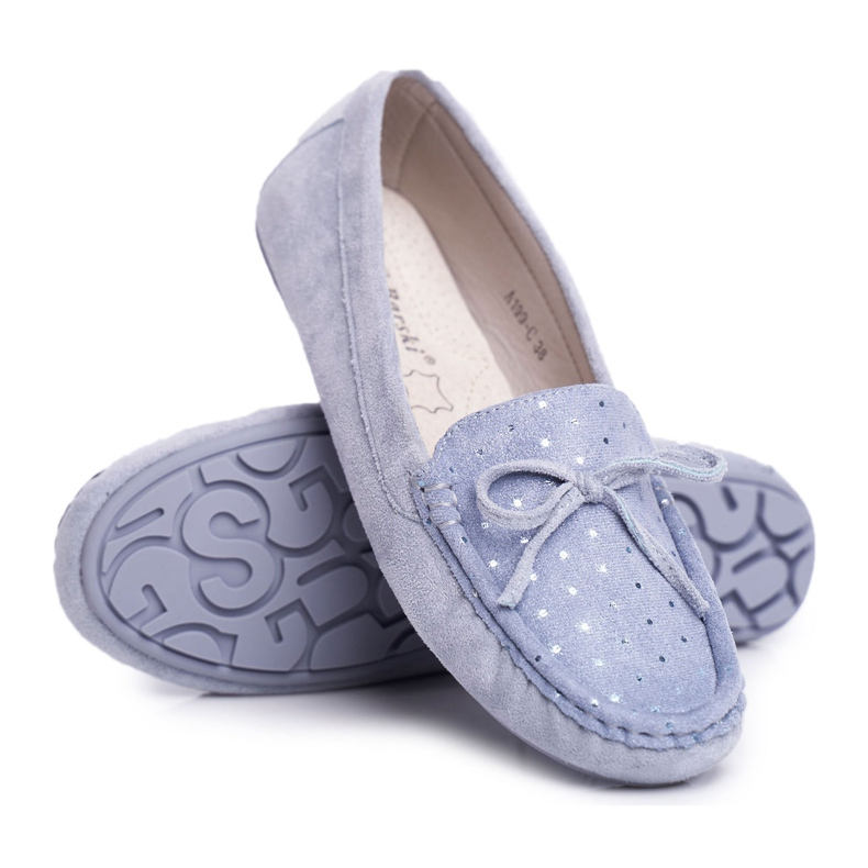 Moccasins for Women Suede S.Barski A199 Blue Wannabe