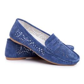 S.Barski Women's Loafers Openwork Leather Navy Blue Salem
