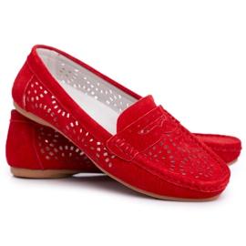 S.Barski Women's Loafers Openwork Leather Red Salem