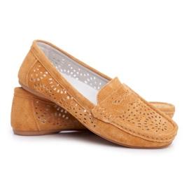S.Barski Women's Loafers Openwork Leather Camel Salem brown