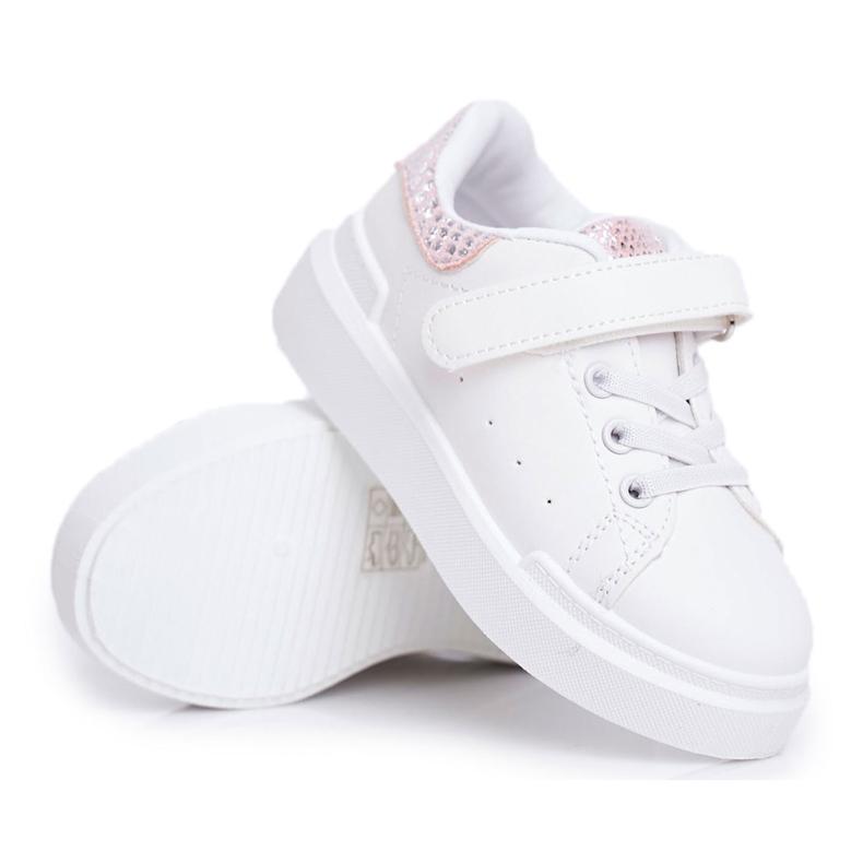 FRROCK Children's Sports Shoes Velcro White Ilonka pink
