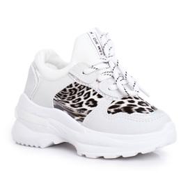 FRROCK Leopard Sport Shoes for Children White Penny grey