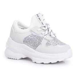 FRROCK Matilda Silver Children's Sports Shoes with glitter white grey
