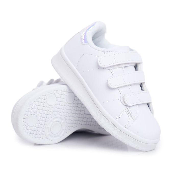FRROCK Youth Sports Footwear With Velcro White Silver Fifi