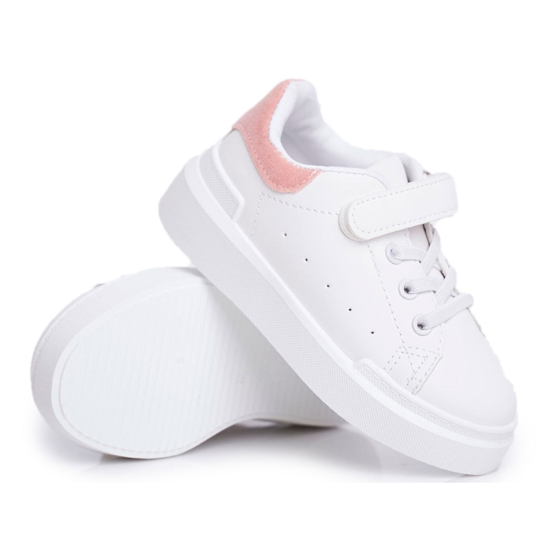 FRROCK Youth Sports Shoes Children Velcro White Pink Bilbo