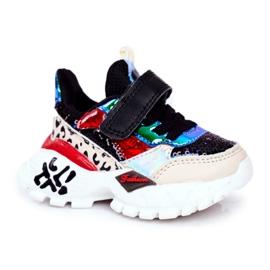 FRROCK Black Children's Sports Shoes Velcro Be Happy multicolored