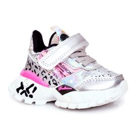 FRROCK Sports shoes for children Velcro Silver Be Happy grey